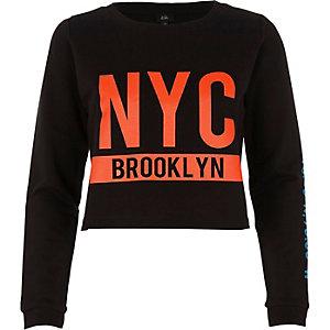 """Schwarzes Sweatshirt """"NYC Brooklyn"""" mit Rundhalsausschnitt"""