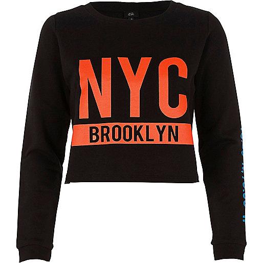 Black 'NYC Brooklyn' crew neck sweatshirt