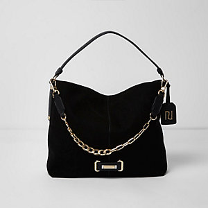 Black chain front underarm slouch bag