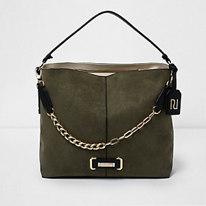 Khaki green chain front underarm slouch bag