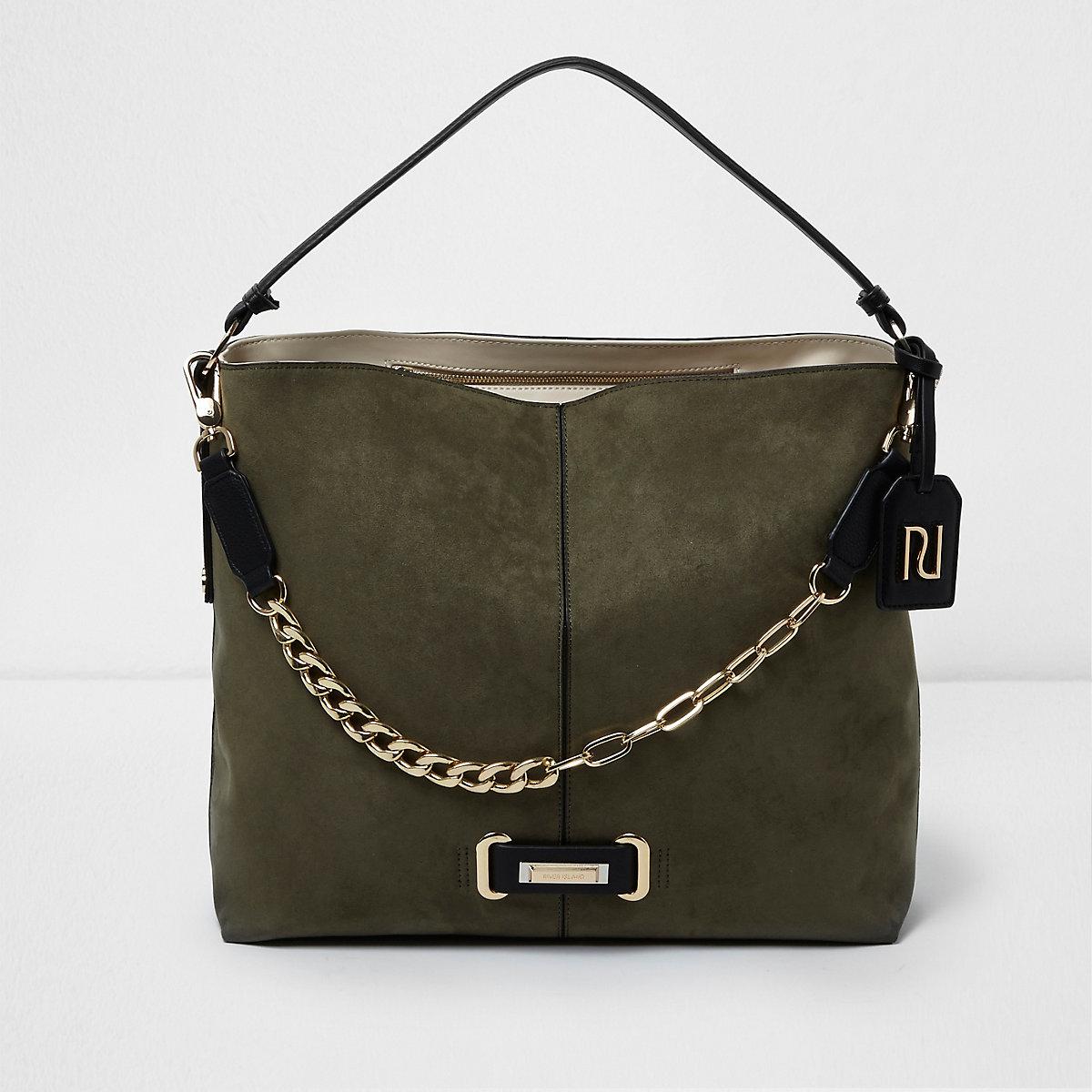 27acae85ee23 Khaki green chain front underarm slouch bag - Shoulder Bags - Bags   Purses  - women