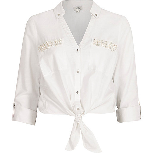 White pearl pocket knot front shirt