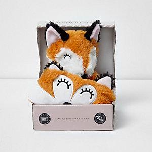 Orange Set mit erwärmbarem Fuchs-Spielzeug und Maske