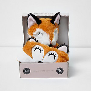 Orange fox heatable toy and mask set