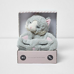 Light grey cat heatable toy and mask set