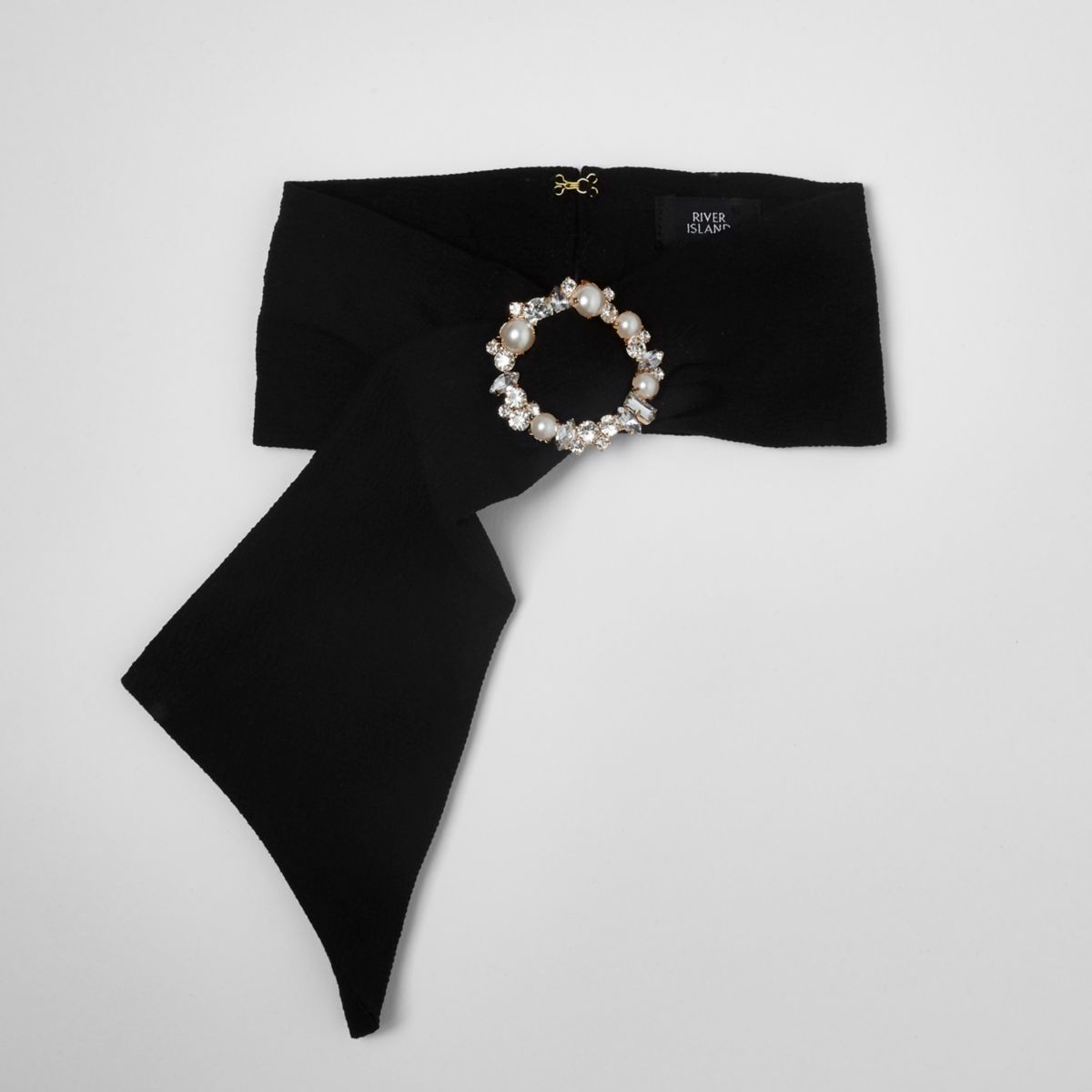 Black satin embellished buckle scarf
