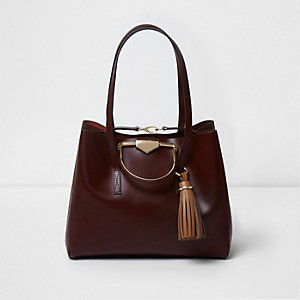 Burgundy leather metal handle large tote bag