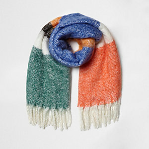 Orange colour block oversized blanket scarf