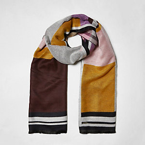 Pink colour block blanket scarf