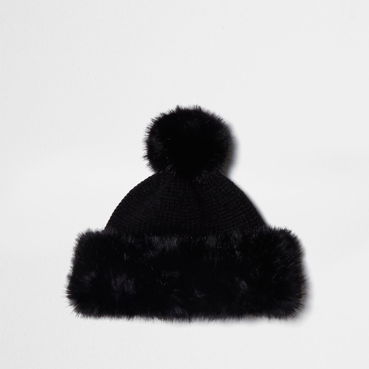 Black knitted faux fur trim bobble hat