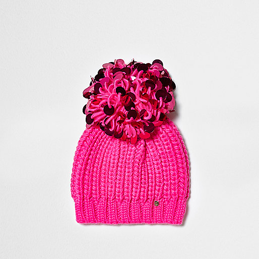 Bright pink sequin pom pom beanie hat