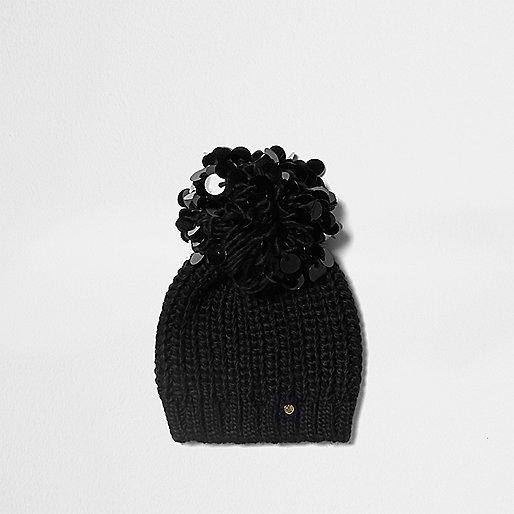 Black sequin pom pom beanie hat