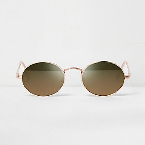 Rose gold tone oval mirror sunglasses