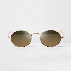 Roségoudkleurige zonnebril met ovale spiegelglazen
