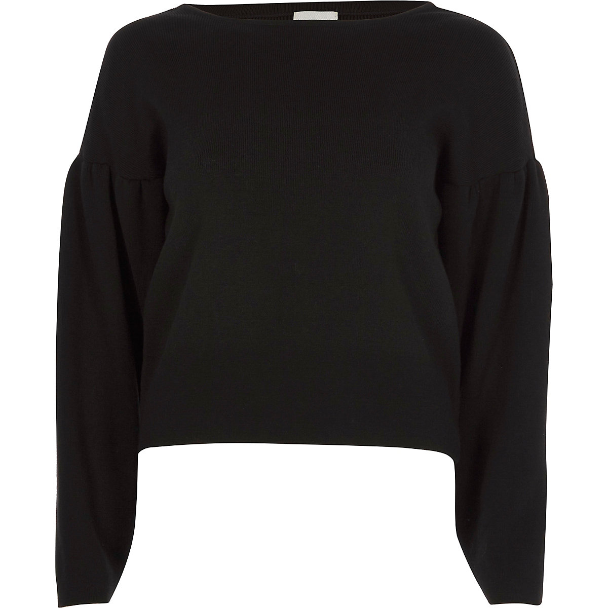 Black long puff sleeve lace-up back knit top