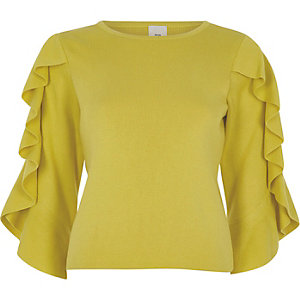 Yellow three quarter frill sleeve knit top