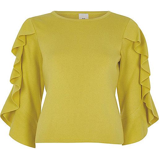 Yellow three quarter frill sleeve knit top