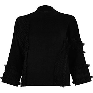 Black tulle trim high neck knit sweater