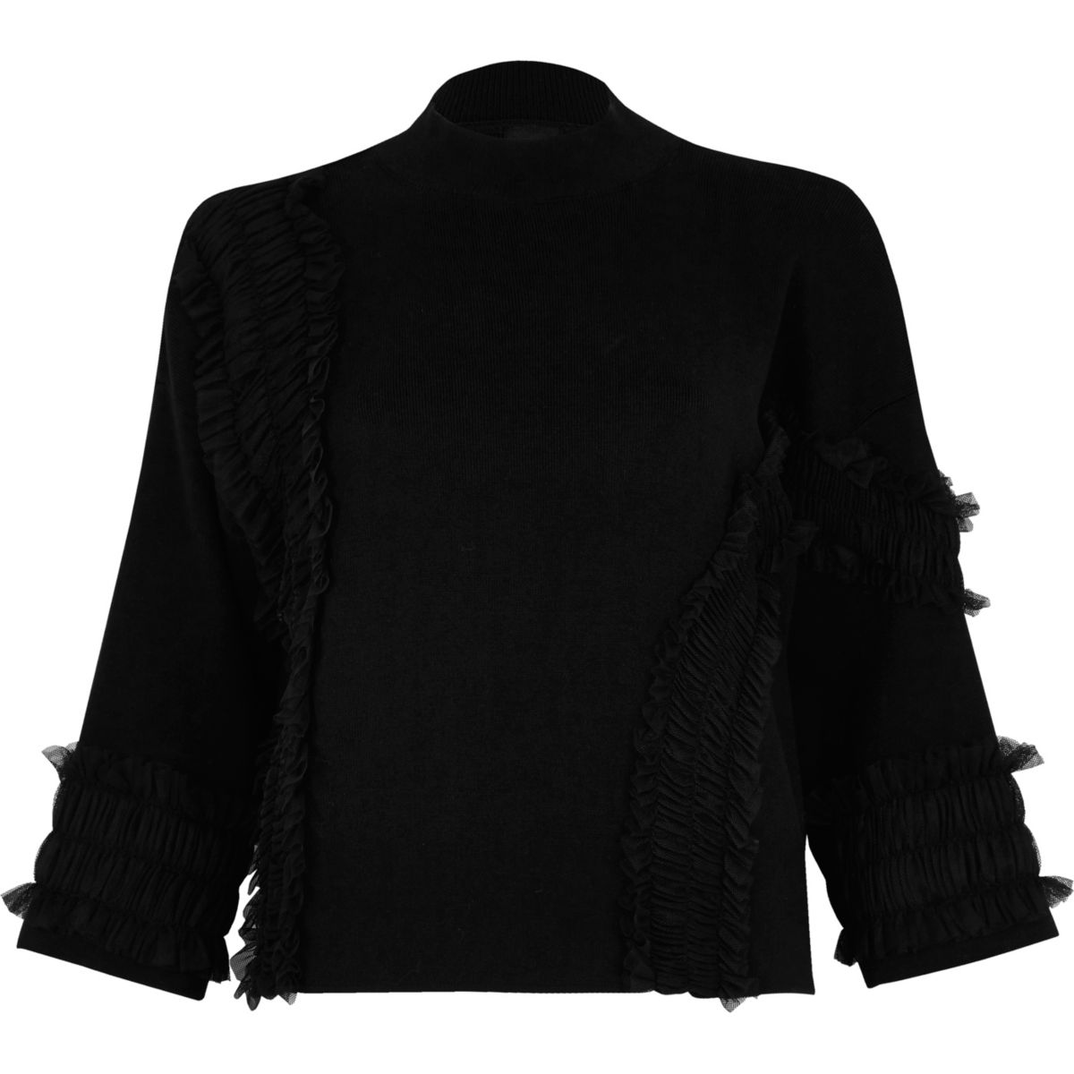 Black tulle trim high neck knit jumper