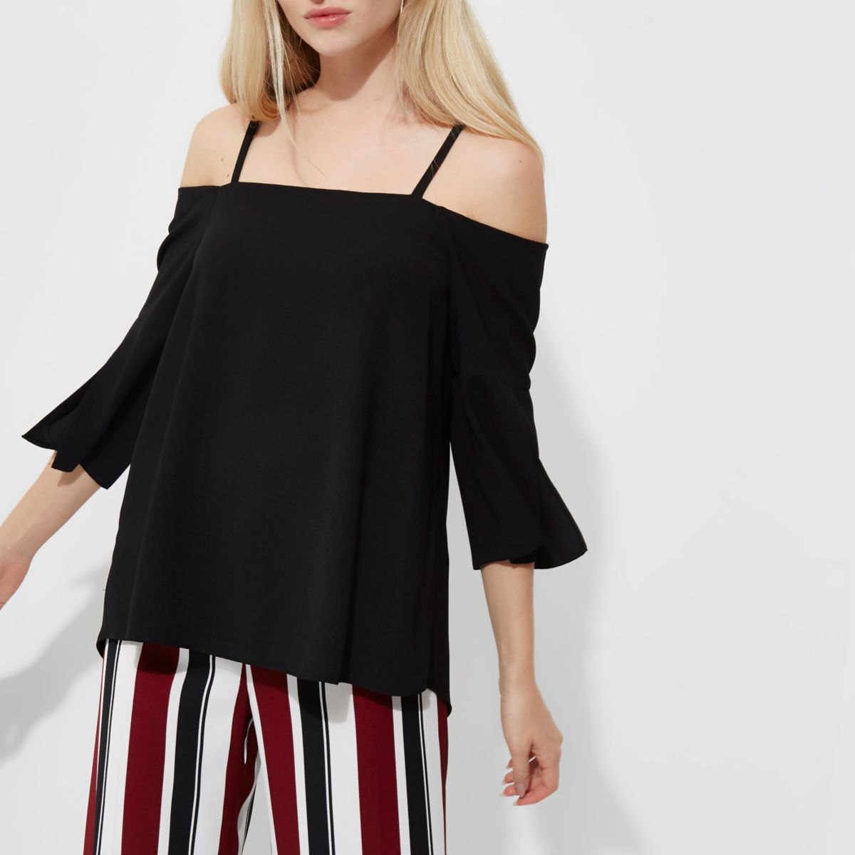 Black bardot three quarter sleeve top