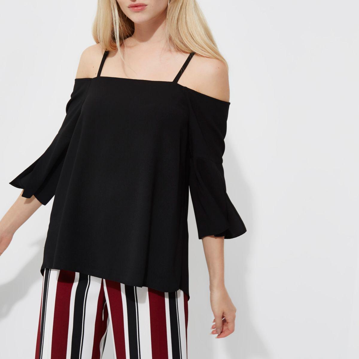 Black bardot three quarter sleeve top