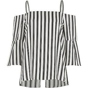 Top Bardot rayé noir et blanc zippé au dos