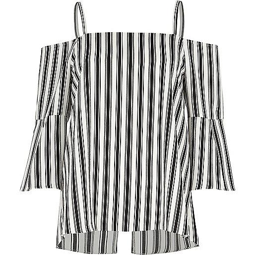 Black mono stripe bardot zip back top