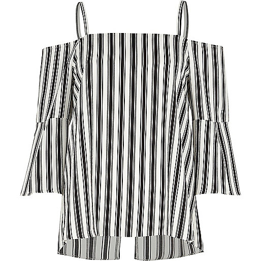Black mono stripe bardot zip back top