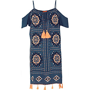 Navy embroidered tassel trim beach dress