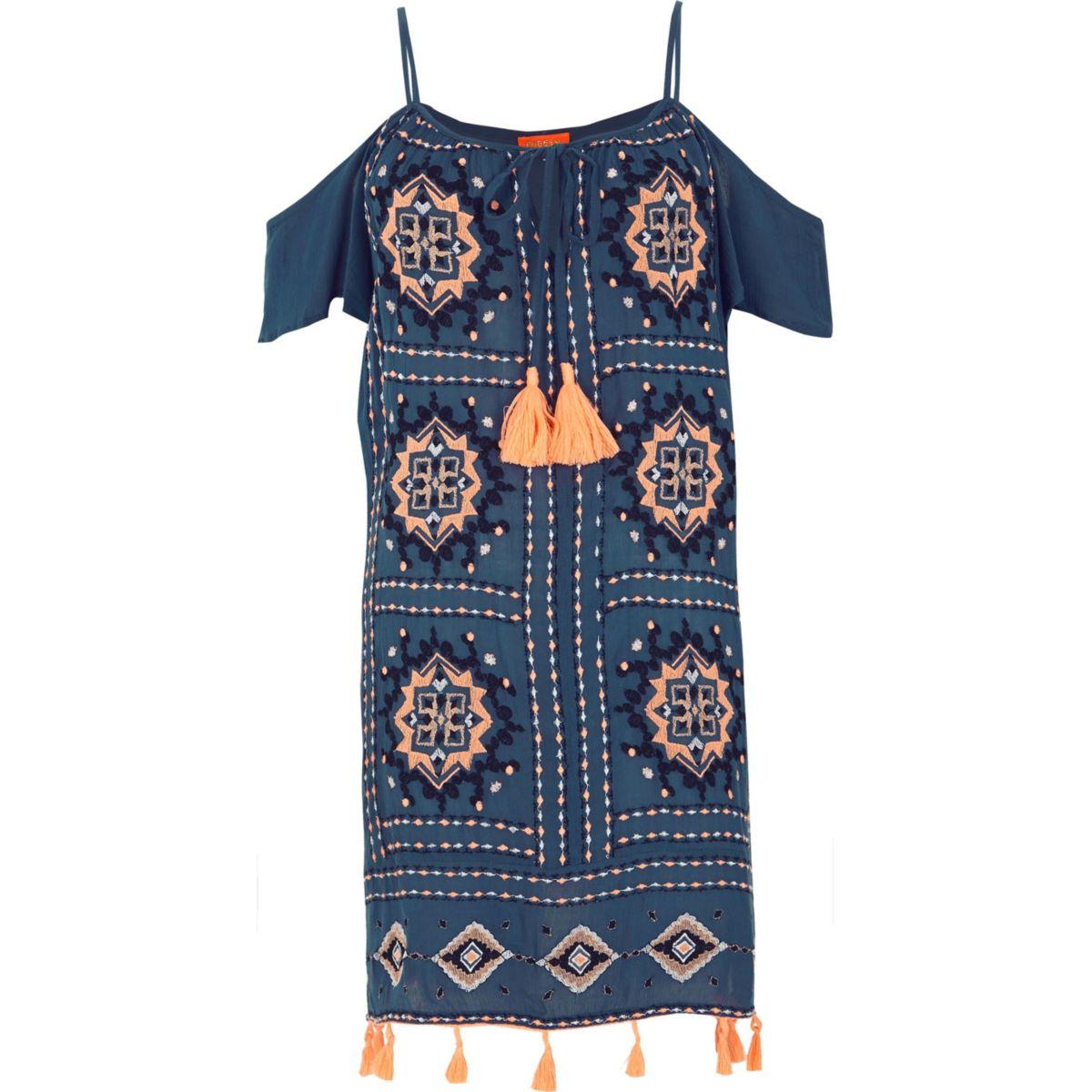 Navy embroidered tassel trim beach dress