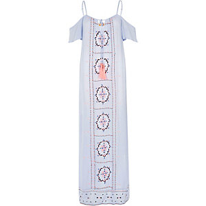 Light blue embroidered maxi beach dress