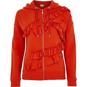 Orange frill front zip-up hoodie