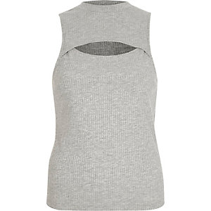 Grey ribbed cut out front tank top