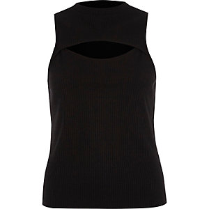 Black rib cut out front tank top