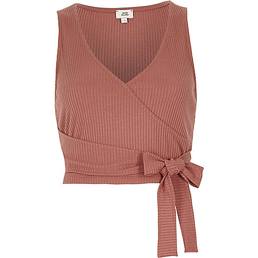 Tan ribbed wrap front cropped tank top