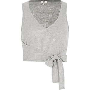 Grey ribbed V neck wrap tank top