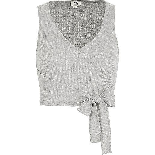 Grey ribbed V neck wrap tank top