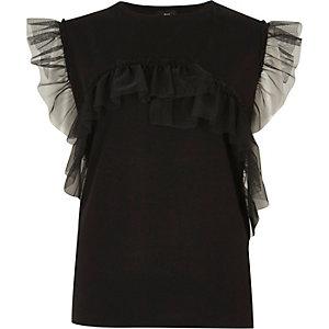 Black mesh frill T-shirt