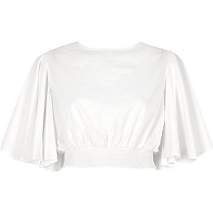 White flared sleeve crop top