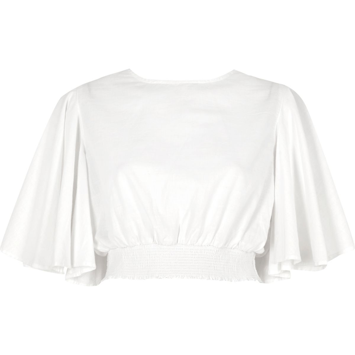 White flared sleeve crop top