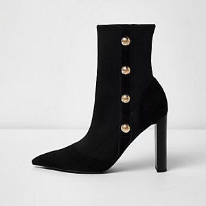 Black military heeled ankle boots