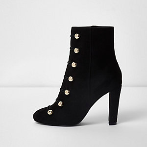 Black military stud ankle boots