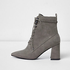Grey pointed toe lace-up boots