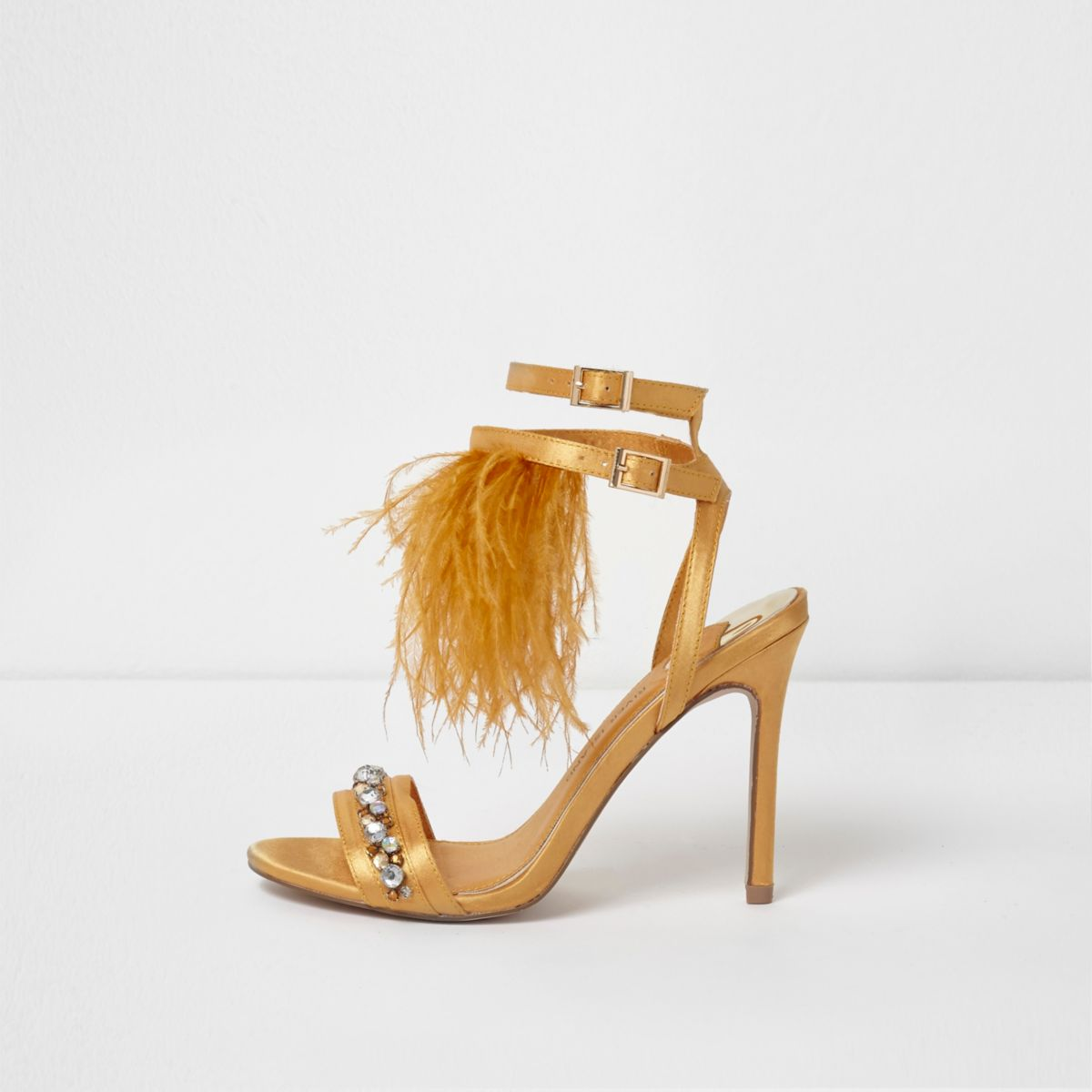 Yellow satin feather gem heeled sandals