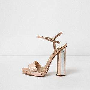 Rose gold tone metallic circle heel sandals