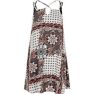 Mini-robe à imprimé foulard grise à bretelles