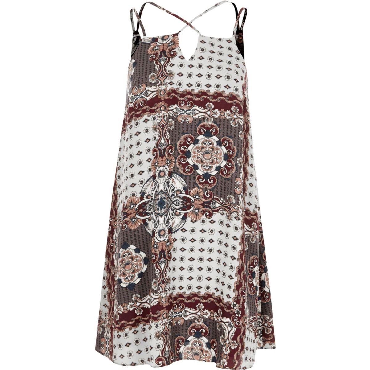 Grey scarf print mini slip dress