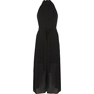 Black polka dot high neck waisted midi dress
