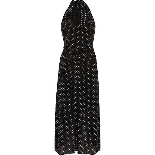 Black polka dot high neck waisted midi dress
