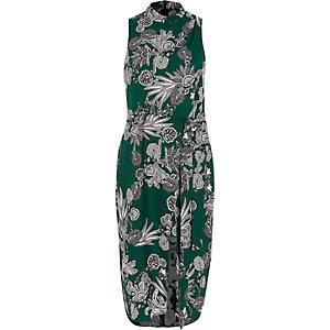Groene hoogsluitende midi-jurk met bloemenprint